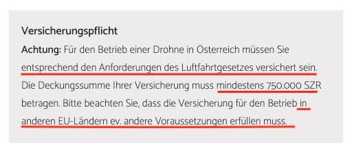 Drohnenversicherung 750000 SZR Austro Control